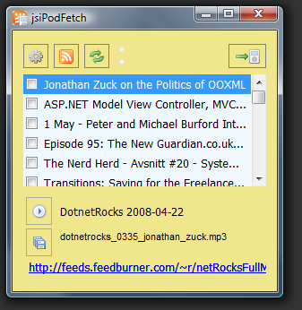 Main window of jsiPodFetch